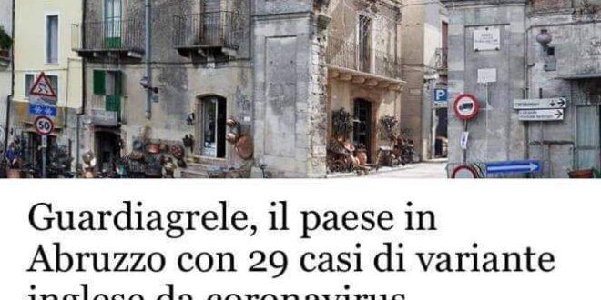 CORONAVIRUS, A GUARDIAGRELE  SCOPERTI 29 CASI DI VARIANTE INGLESE